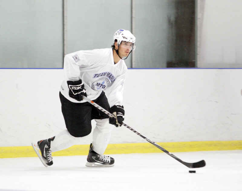 John Laliberte had 21 goals and 27 assists in 48 games with his Wolfsburg, Germany, hockey team last season.