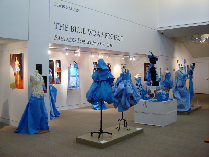 """""""The Blue Wrap Project"""" installation at the Portland Public Library."""