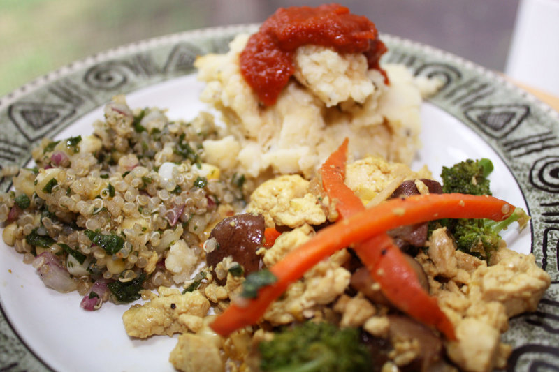 Macrobiotic dishes include quinoa salad, tofu scramble, and mashed millet and cauliflower with sun-dried tomato catsup.