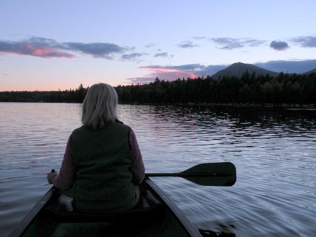 An evening paddle on Katahdin Lake.