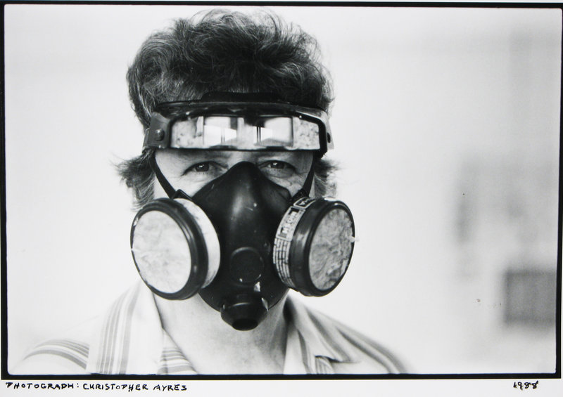 Artist Beverly Hallam in a 1988 photograph by Christopher Ayers.