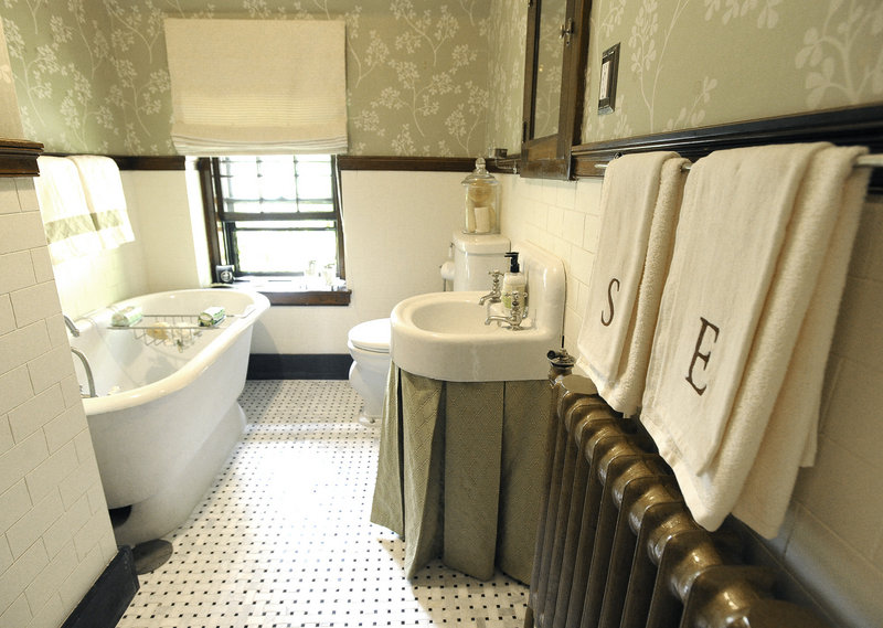 A second-floor bath.