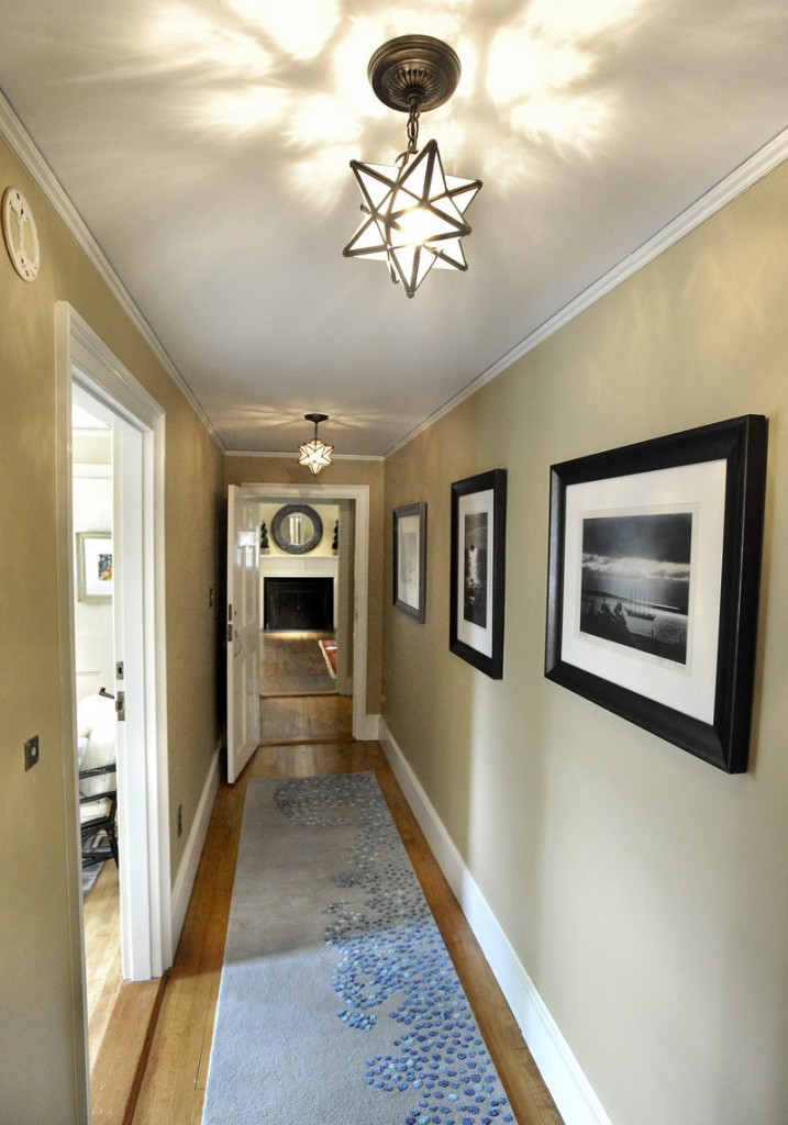 The interior design for this second-floor hallway was done by Vanessa Helmick of Fiore Interiors.