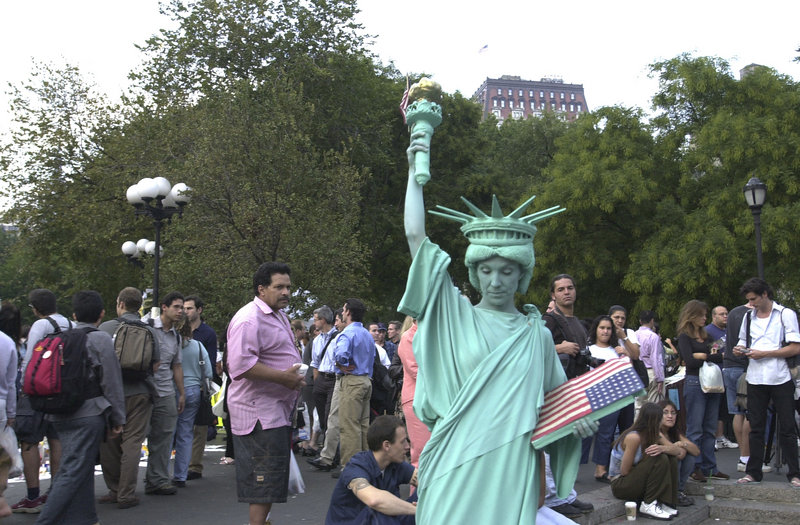 In the days after the terrorist attacks of Sept. 11, 2001, The Portland Press Herald sent columnist Bill Nemitz and photographer Gregory Rec to New York to report from the scene. This is one of the photos from that report: A performance artist portrays the Statue of Liberty in Union Square in Manhattan.