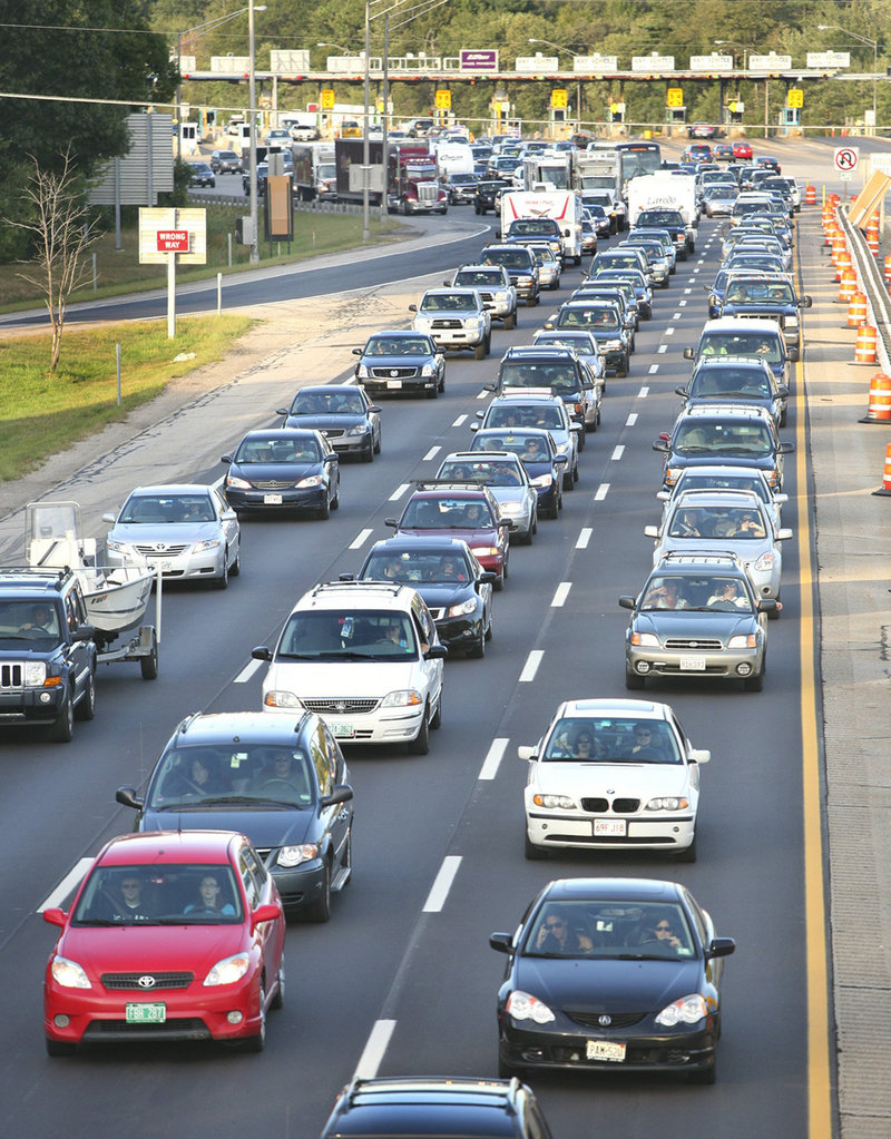 Motorists inch along southbound on the Maine Turnpike after going through the York tollbooth on Labor Day in 2010.