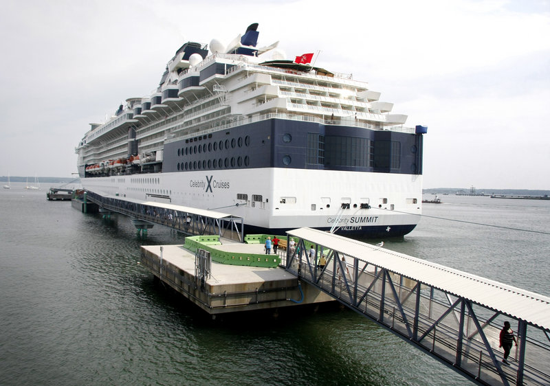 The Celebrity Summit berths at the floating pier Wednesday. The pier is not open to the public.