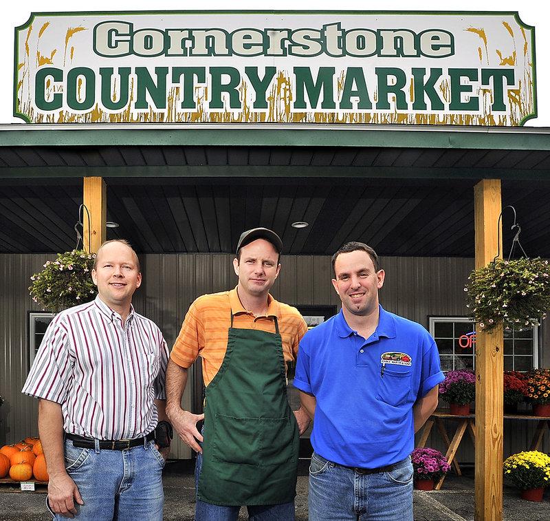 Cornerstone Country Market owners Jeff Balmer, left, Randy Bruckhart and Jon Sollenberger.