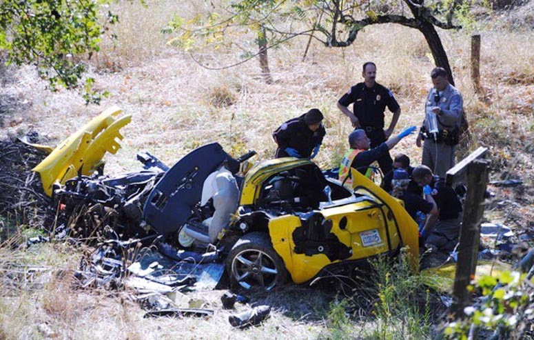 The scene of the crash off Highway 20 in Upper Lake, Calif. A Portland man was killed when the rented 2012 Corvette he was driving crashed on Sunday night.