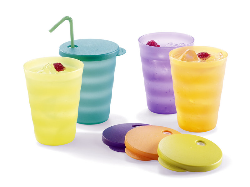 "Tupperware Impressions Tumblers. The new Tupperware sports edgy shades of ""purplicious"" and ""fuchsia kiss,"" or crisp greens dubbed ""margarita"" and ""lettuce leaf."""