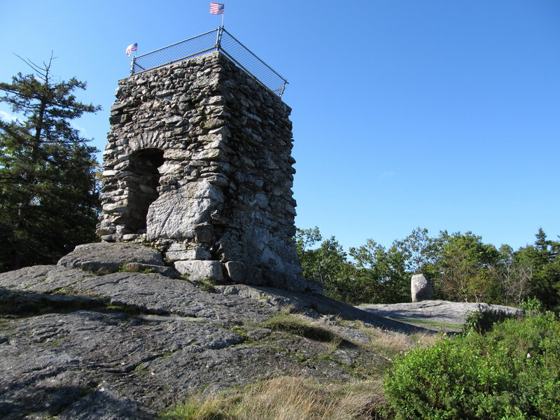 The stone tower at the top of Douglas Mountain in Sebago gives hikers a higher view.