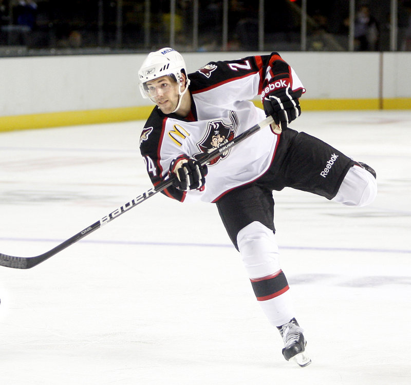 """Tim Greenway/Staff Photographer Brent Hextall says the Pirates will want to stay calm entering their home opener tonight at the Cumberland County Civic Center. He says players will """"just try to keep it even-keeled."""""""
