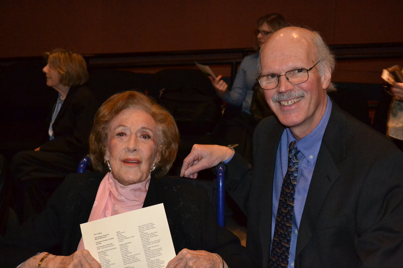 """McPartland with the filmmaker Huey at a screening for cast and crew of """"Marian McPartland's Piano Jazz."""""""