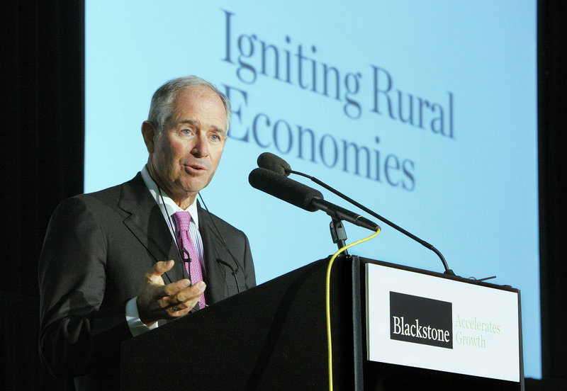 Stephen Schwarzman cites the Maine economy's creative challenges at Friday's launch of Blackstone Accelerates Growth.