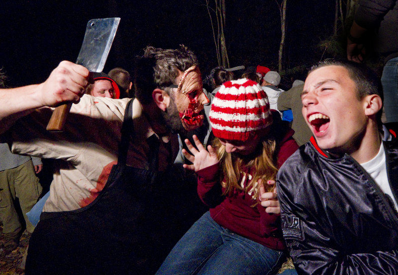 Masks! Cleavers! Participants on a haunted hayride in Scarborough get some unexpected company.