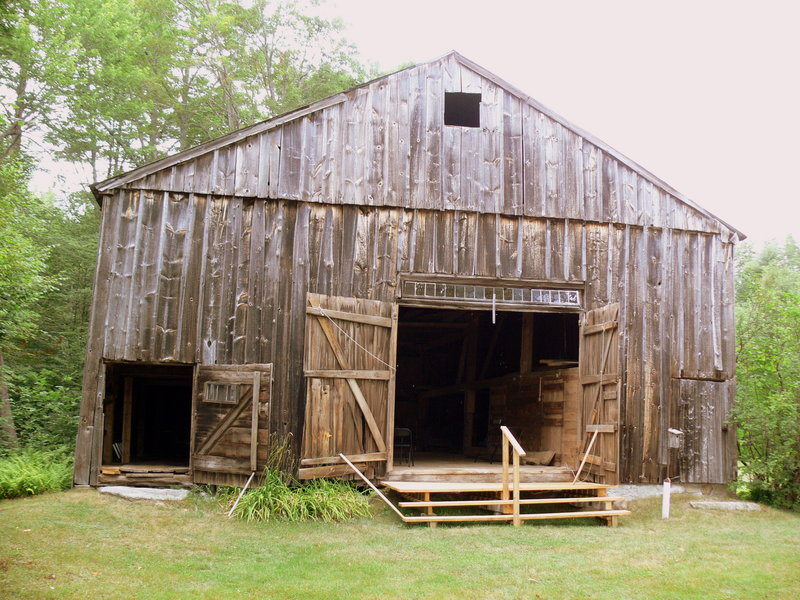 This Harrison barn, above, features several early barn indicators, including an offset door and shallow roof pitch.