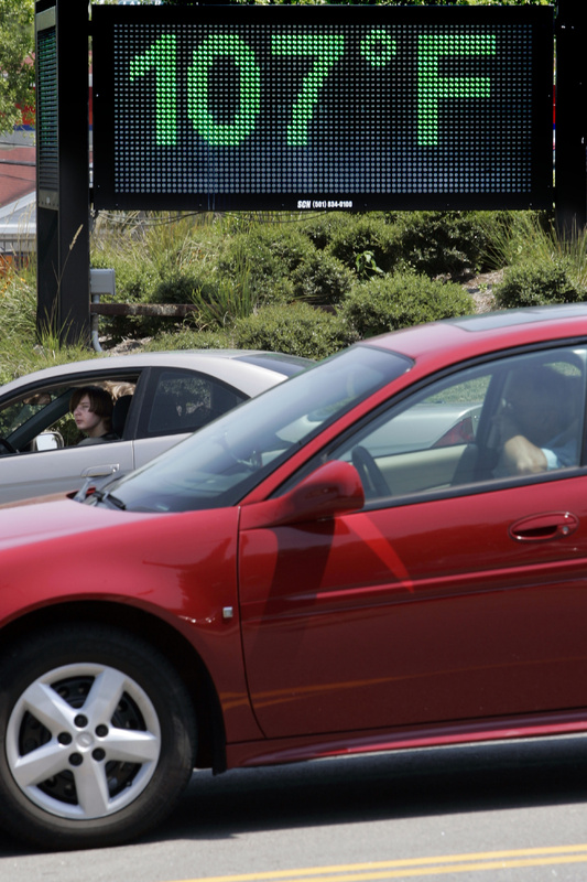 A digital thermometer in Little Rock, Ark., shows the results of a heat wave in 2007.