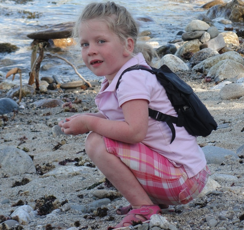 Ava LaBarge of Bridgton wears the backpack she must have at all times because it delivers a constant supply of medication to her heart. Ava, 5, has also had several surgeries.