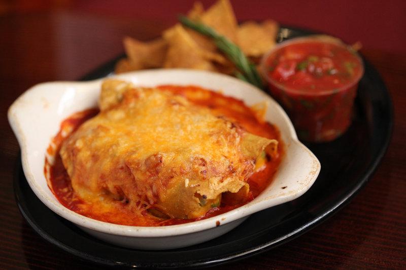 The round, pumpkin-like butternut squash stars here in Enchiladas Calabaza.