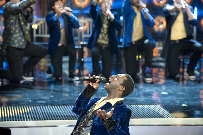 """Portland's Michael Odokara-Okigbo performs Monday night with the Dartmouth Aires on NBC's """"The Sing-Off."""" They advanced to the next round of the competition."""
