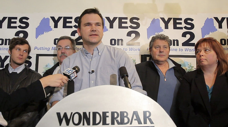 Toby McGrath, campaign manager for Yes on 2, concedes defeat in a speech at the Wonderbar restaurant in Biddeford on Tuesday night.