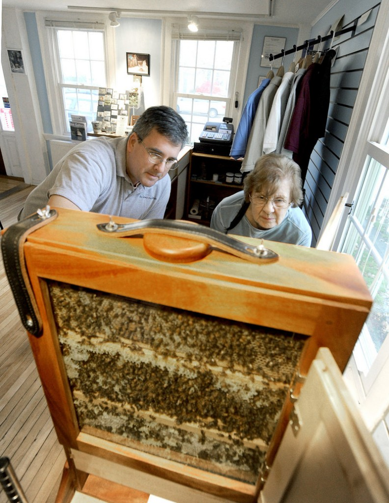 Co-owner Phil Gaven explains how The Honey Exchange's in-store hive works to Helen Kane of Sanford.