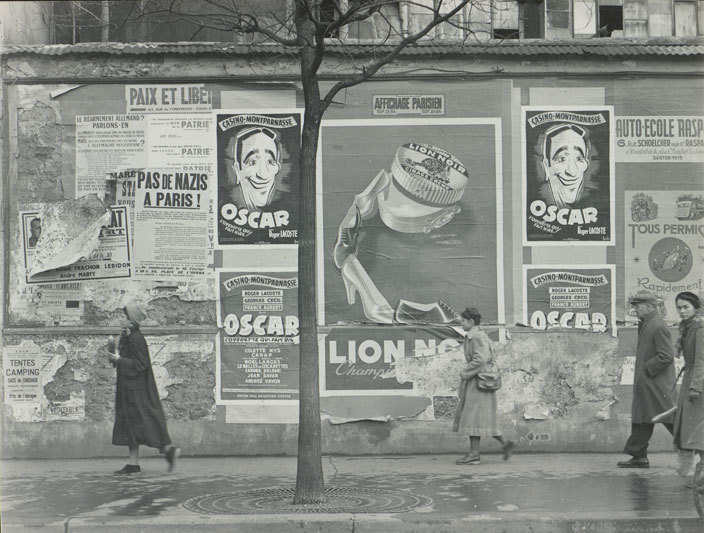 """Rue Alesia, Paris (Oscar billboards),"" a 1951 photograph by Todd Webb, from ""After Atget: Todd Webb Photographs New York and Paris,"" through Jan. 29 at the Bowdoin College Museum of Art."