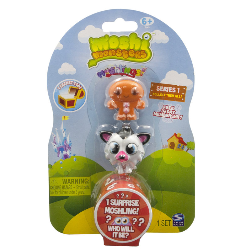 MOSHI MONSTERS: Inside a three-pack, you'll find three Moshlings and a secret code. When kids go online, they can use the code to retrieve a special item for their Moshi Monster. Sets vary; the three-pack costs $4.79 on toysrus.com.