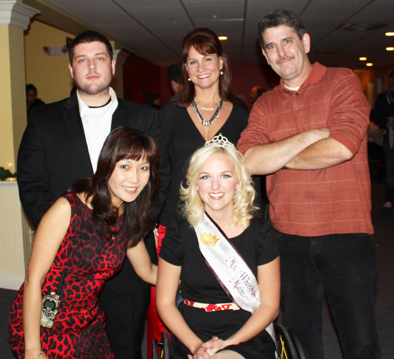 Ry Russell, who emceed the fashion show, singer Andrea Delan, comedian Dennis Fogg, Whitney Hensely, who coordinated the models, and Ms. Wheelchair Maine 2011 Monica Quimby.
