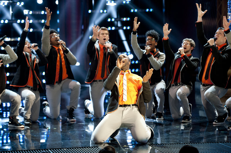 """The Dartmouth Aires perform Monday night on """"The Sing-Off."""" Next week the group, featuring Waynflete graduate and lead singer Michael Odokara-Okigbo, will be competing for $200,000 in cash and a Sony Music recording contract."""