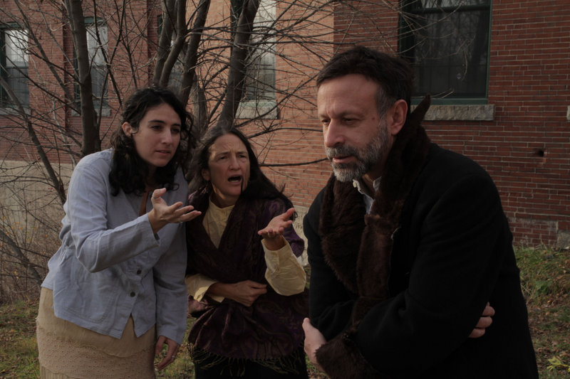"""Laura Vitanza and Cynthia Eyster as villagers and Hal Cohen as Shmerel the beggar in Acorn Productions' """"The Wandering Beggar,"""" which opens Friday and continues through Dec. 18 at the Acorn Studio Theater in Westbrook. The play, an adaptation by local playwright Howard Rosenfield of a 1931 Yiddish book by Solomon Simon, features a collection of vignettes in which the title character must deal with dishonest servants and greedy kings. 854-0065; acorn-productions.org"""