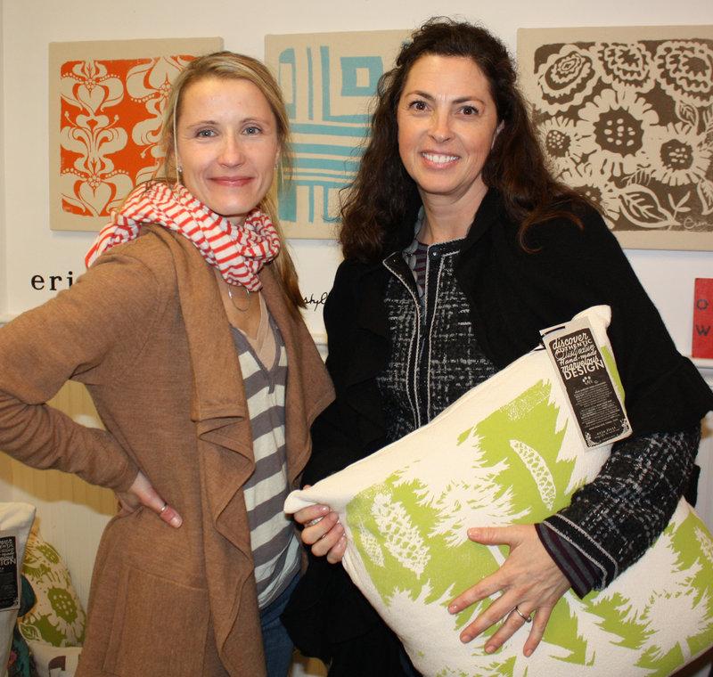 Fabric artist Erin Flett and Kate Burnham, who is a fan of Flett's work.