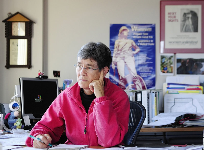 Dale McCormick, MaineHousing executive director, takes a conference call Friday in her Augusta office. McCormick said she feels blindsided by criticism of her oversight of the agency after she had already formed a cost-containment committee.