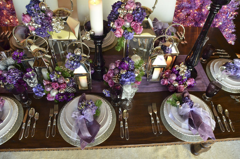 Shades of purple replace traditional reds and greens on this holiday table.