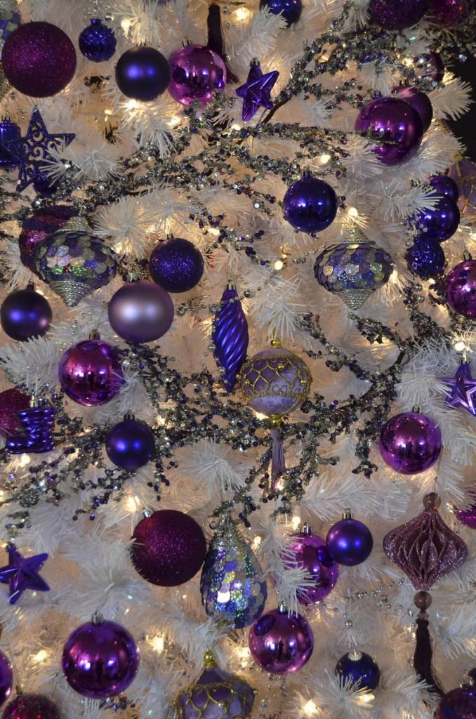 Holiday ornaments dazzle in purple.