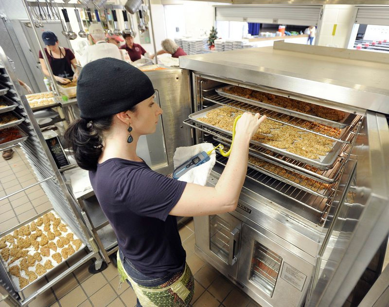 With help from grants, Windham Primary School brought in guest chef Erin Dow to work with the kitchen staff to prepare made-from-scratch Parmesan-crusted chicken fingers and a BLT pasta salad for Thursday's lunch.