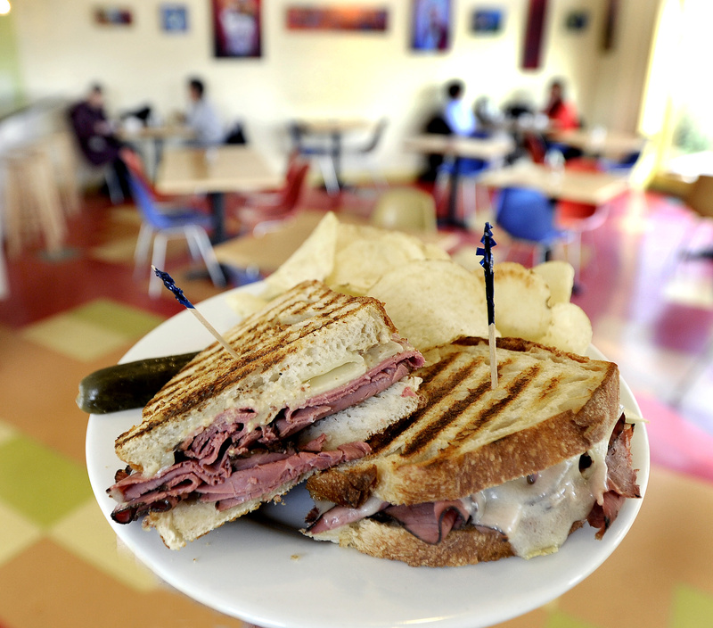 A pastrami and swiss sandwich at Borealis Breads Bakery & Bistro.