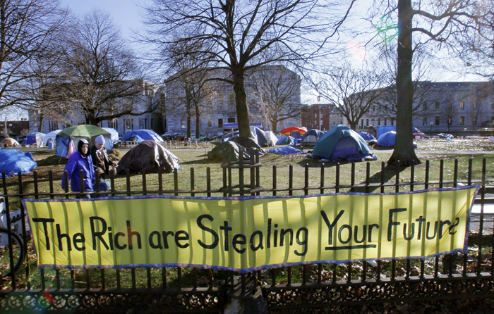 Occupy Maine tents stand in Lincoln Park in this Dec. 8, 2011, photo.