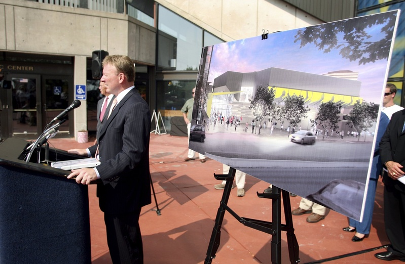 Neal Pratt, chair of the Cumberland County Civic Center board of trustees, discusses the proposed renovations for the Cumberland County Civic Center in Portland.