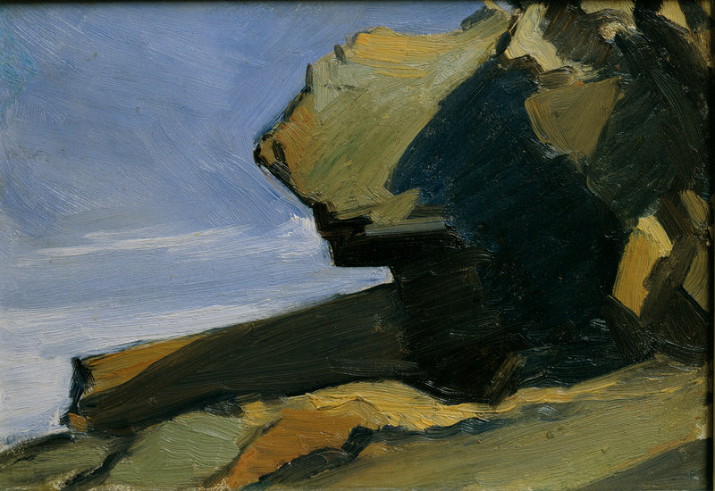 """Rocky Projection at Sea"" by Edward Hopper, from the Hopper exhibition at Bowdoin College"