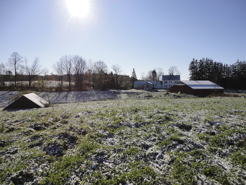 The Fogg Farm, established in 1810 as a dairy farm, includes rolling hayfields and woodlands now used to produce hay. It will remain as open space and be protected from development under a conservation easement the owners granted to the Maine Farmland Trust.