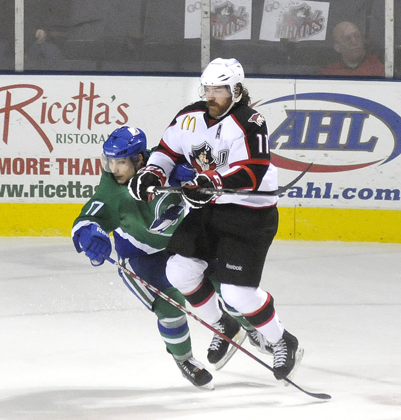 Ryan Hollweg is a master at producing momentum for the Portland Pirates, particularly with completing checks against opponents.