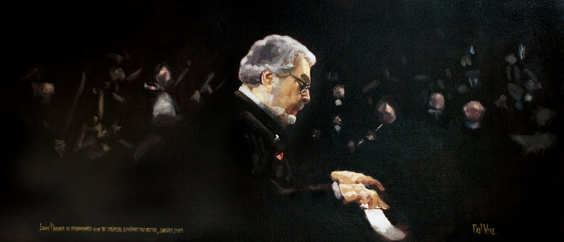 Wyse's portrait of Leon Fleisher performing with the Syracuse Symphony Orchestra.