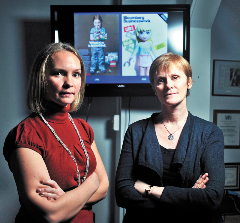 Megan Williams, left, president of the empowerment group Hardy Girls Healthy Women, and Colby education professor Lyn Mikel Brown are behind a protest of a new Lego line.