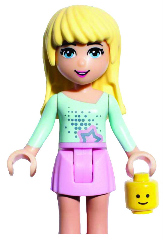 """""""Stephanie"""" and four other main characters in a new line of Lego products for girls like to """"work on their tans"""" in a pool."""