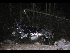 Two teenagers died and a third was critically injured when this Subaru crashed into trees along Route 219 in West Paris shortly after midnight Friday.