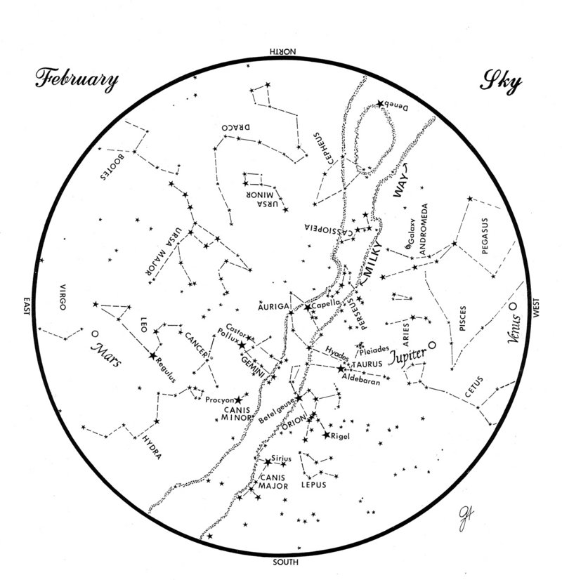 This chart represents the sky as it appears over Maine during February. The stars are shown as they appear at 9:30 p.m. early in the month, at 8:30 p.m. at midmonth and at 7:30 p.m. at month's end. Mars, Jupiter and Venus are shown in their midmonth positions. To use the map, hold it vertically and turn it so that the direction you are facing is at the bottom.