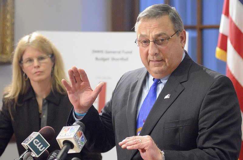 (FILE) Gov. Paul LePage, and Mary Mayhew, commissioner of the Department of Health and Human Services.