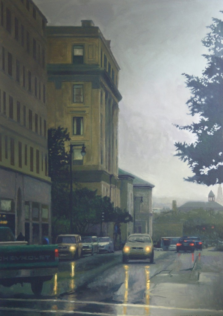 """""""Portland Morning,"""" an oil painting by Thomas Connolly, is among the works on view in """"Art Maine 2012,"""" continuing at Greenhut Galleries in Portland."""