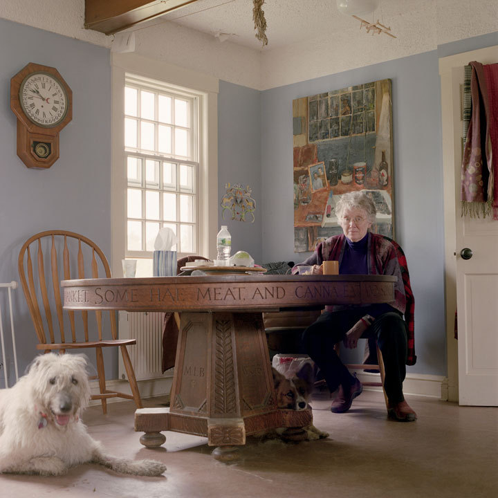 """Mary Bok with Surely & Honey the Dogs, Camden, Maine,"" 2011, from the exhibition of Tanja Alexia Hollander's portraits of her Facebook friends, opening in February at the Portland Museum of Art."
