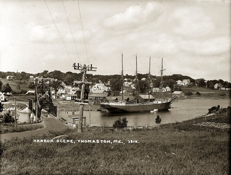 """This view of Thomaston Harbor is from """"Knox County Through Eastern's Eye,"""" an exhibition of photographs from the Penobscot Marine Museum's Eastern Illustrating Collection, on view through Tuesday at the Camden Public Library."""